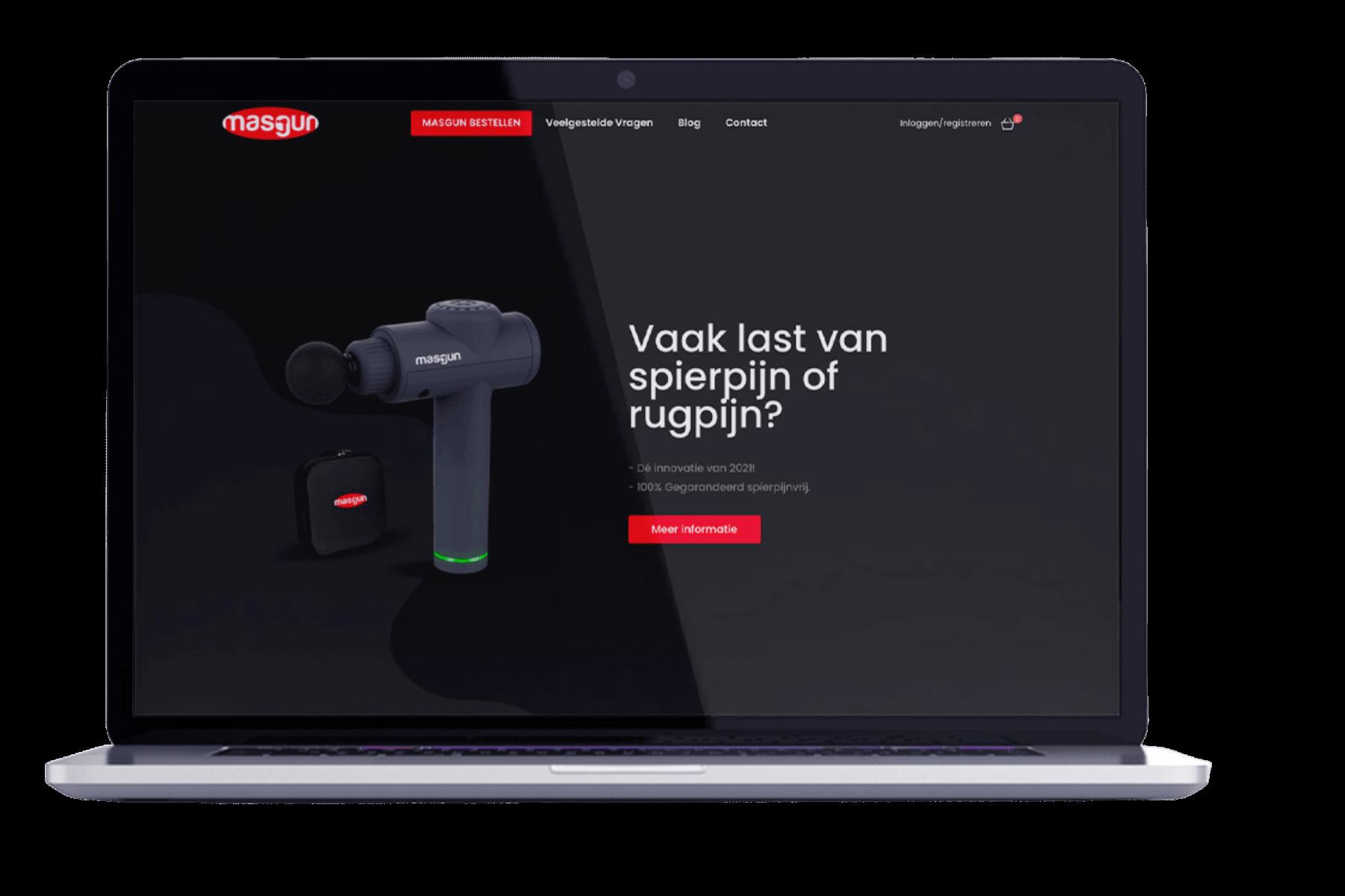 Masgun.nl homepage op desktop